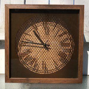 Vintage Elgin Rattan Wall Clock, Retro Brown Decor